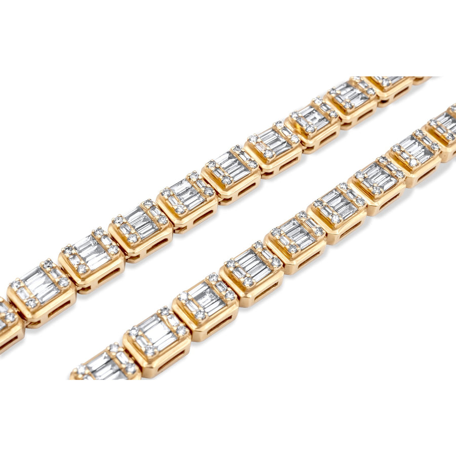 14k Yellow Gold Baguette Chain 11.91ctw