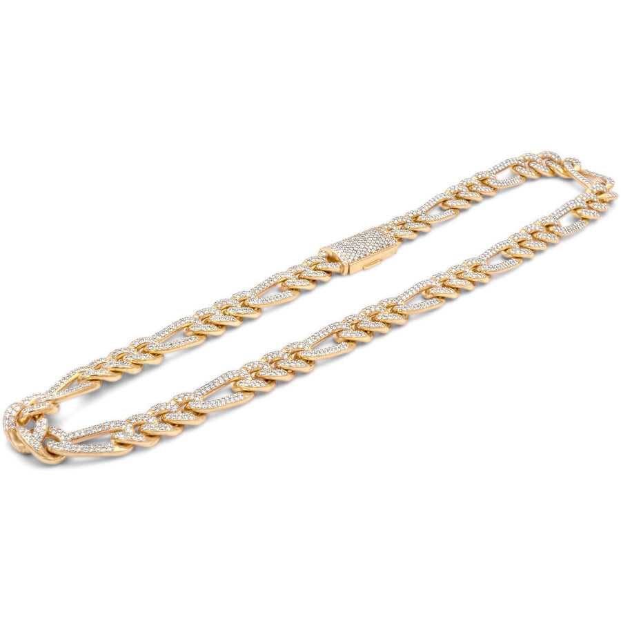 14k Yellow Gold Diamond Figaro Chain