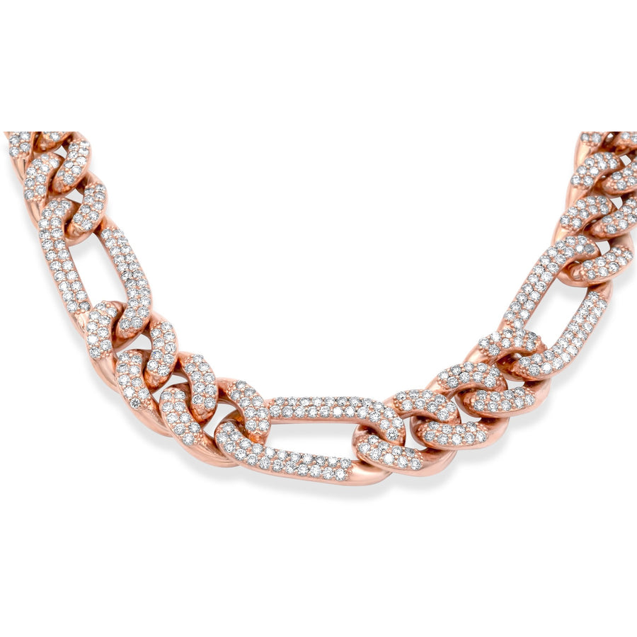 14k Rose Gold Diamond Figaro Link Chain 18.60ctw