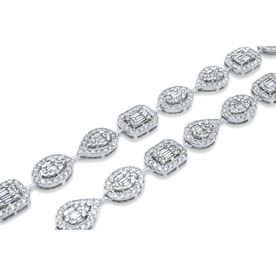 14k White Gold Fancy Shape Baguette Diamond Chain 14.87ctw