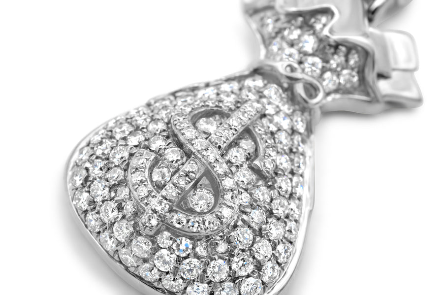 14k White Gold Money Bag Pendant