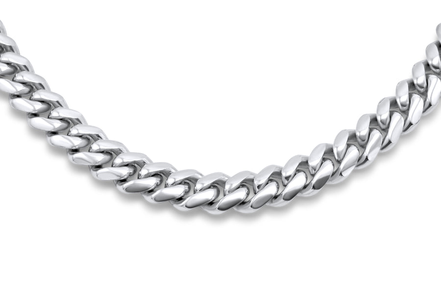 14k Solid White Gold Cuban Link Chain 5mm