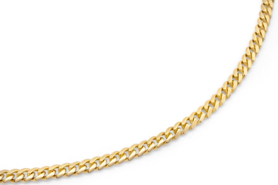 14k Solid Yellow Gold Cuban Link Chain 4mm