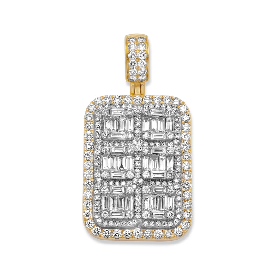 14k Yellow Gold Baguette Diamond Dog Tags