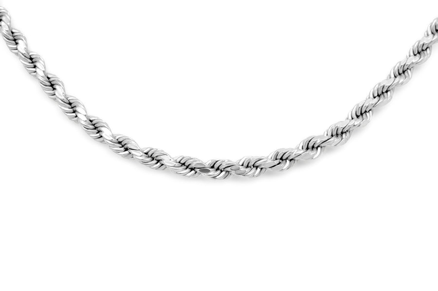 14K White Gold Hollow Rope Chain 3mm