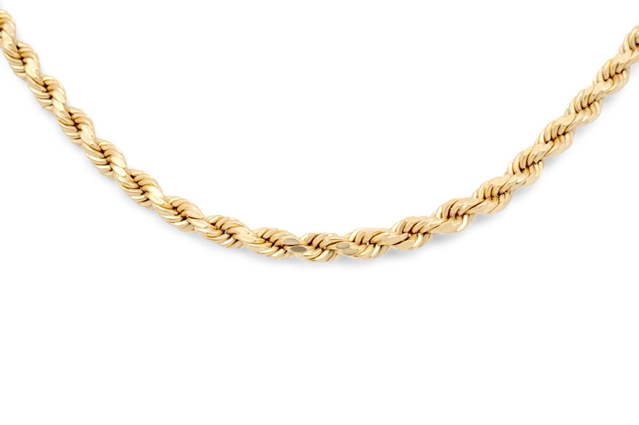 14K Yellow Gold Hollow Rope Chain 3mm