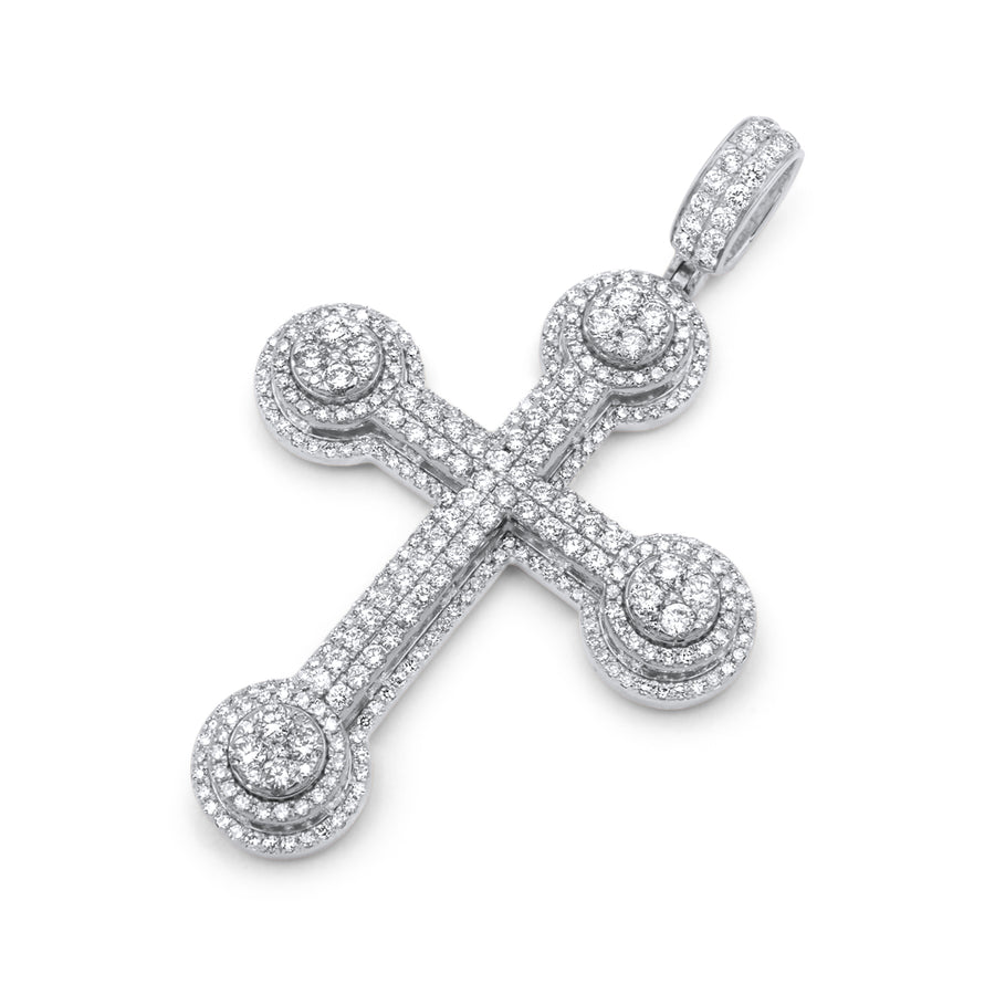 14k White Gold 3D Diamond Cross 3.99ctw