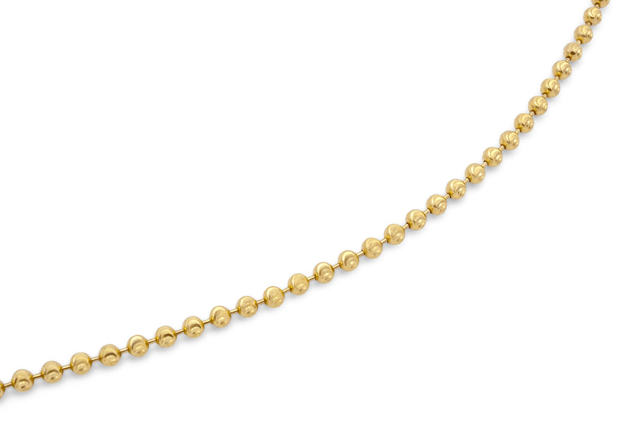 14k Yellow Gold Solid Ball Bead Chain 3mm