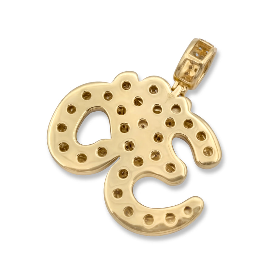 14k Yellow Gold Ohm Pendant 4.28ctw