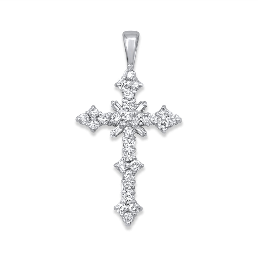 14k White Gold Cross Pendant 1.58ctw