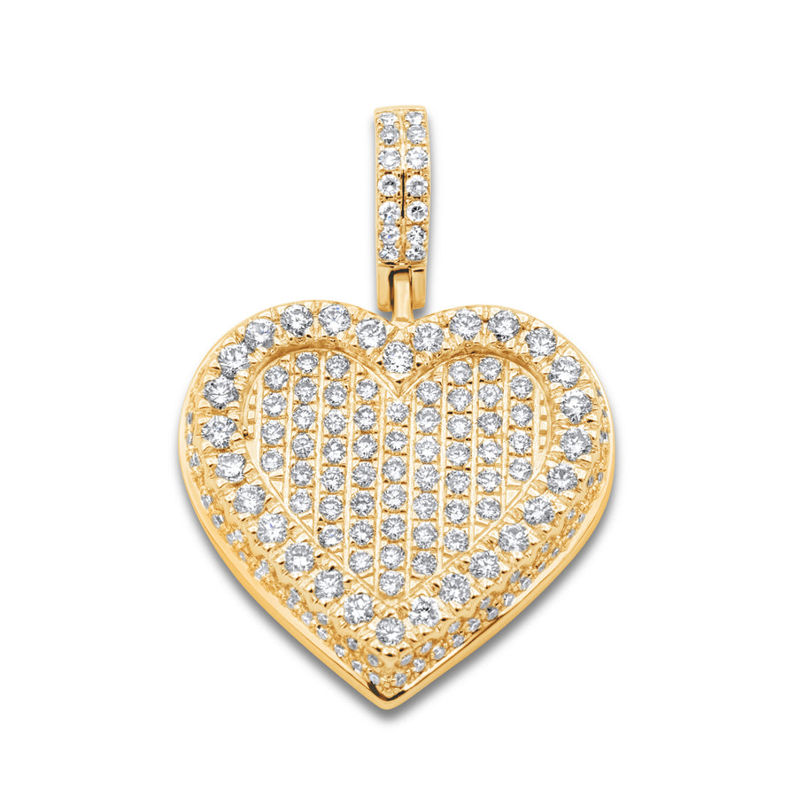 14k Yellow Gold Diamond Cluster Heart Pendant 1.67ctw