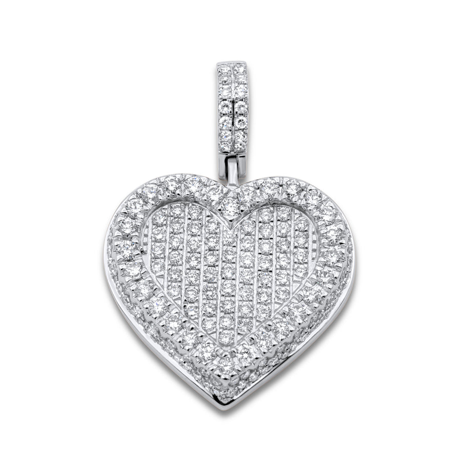 14k White Gold Diamond Cluster Heart Pendant 1.67ctw