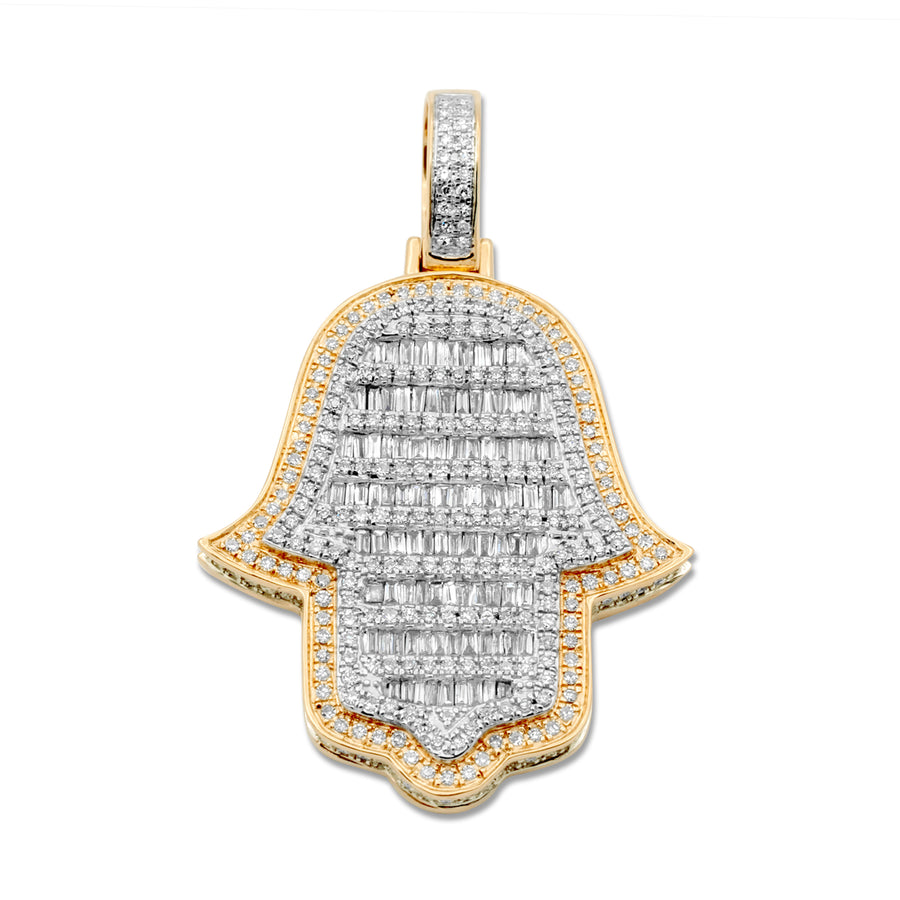 14k Two-Tone Yellow & White Gold Diamond Hamsa 1.49ctw