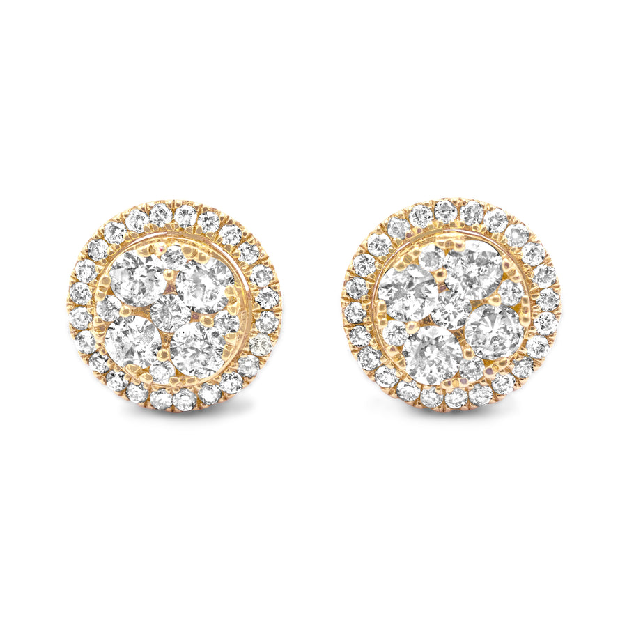 14k Yellow Gold Diamond Cluster Earrings 1.08ctw