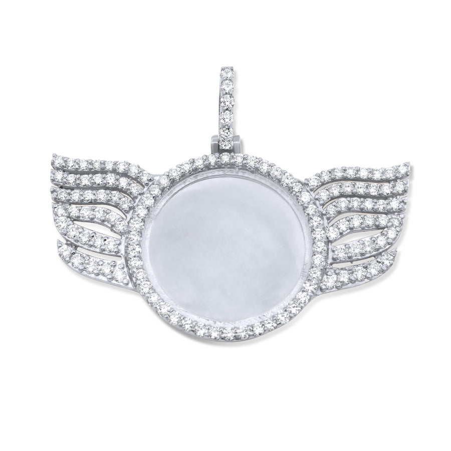 14k White Gold Wings Memory Pendant 3.80ctw