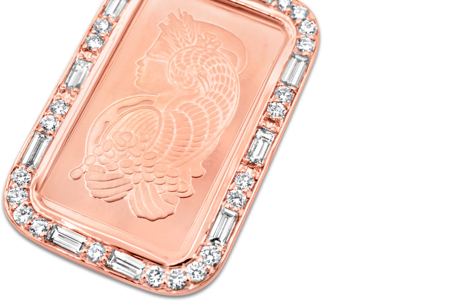 24K Solid Rose Gold Lady Fortuna Bar Pendant 0.90ctw