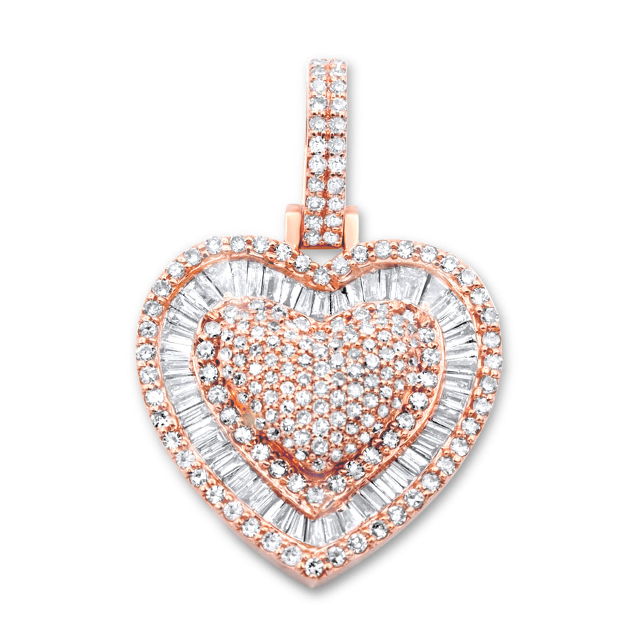 14k Rose Gold Diamond Baguette Heart Pendant 1.19ctw