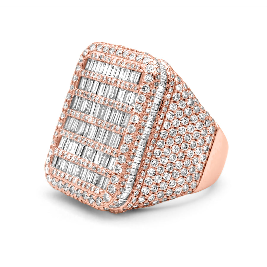 14k Rose Gold Baguette Diamond Ring 6.30ctw
