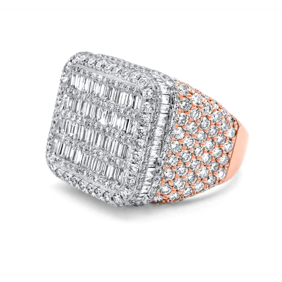 14k Two-Tone Rose & White Gold Baguette Diamond Ring 5.68ctw
