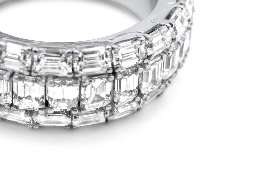 14k White Gold Emerald Cut Diamond Eternity Band 9.50ctw