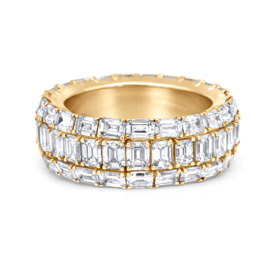 14k Yellow Gold Emerald Cut Diamond Eternity Band 9.50ctw