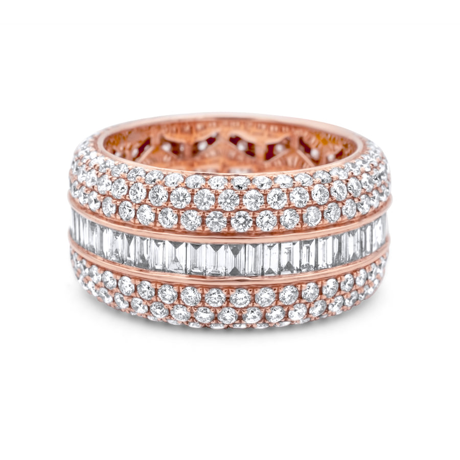 14k Rose Gold Diamond Baguette Ring 7.00ctw