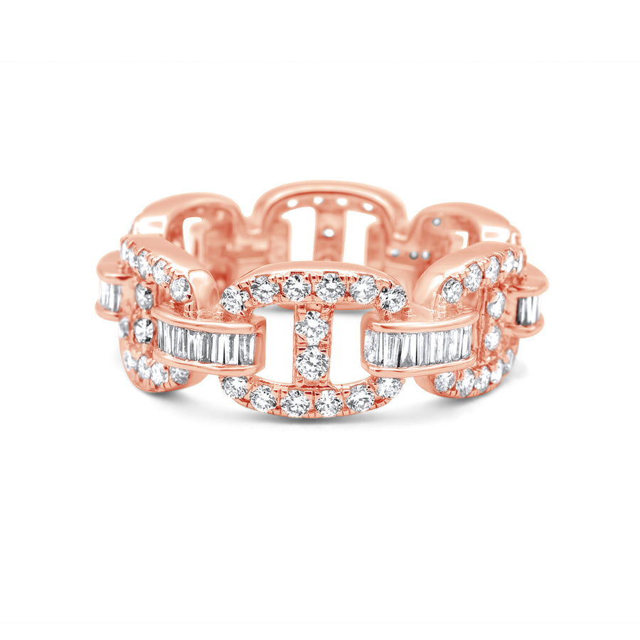 14k Rose Gold Baguette Diamond Hermes Link Ring 2.42ctw