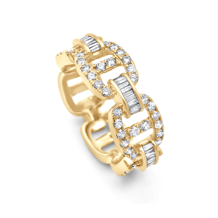 14k Yellow Gold Baguette Diamond Hermes Link Ring 2.42ctw