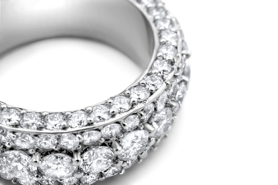 14k White Gold Diamond Eternity Band 9.86ctw