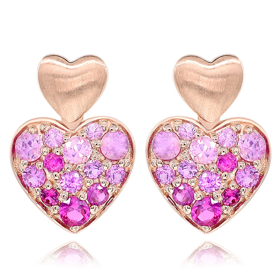 14k Rose Gold Pink Sapphire Earrings 0.64ctw