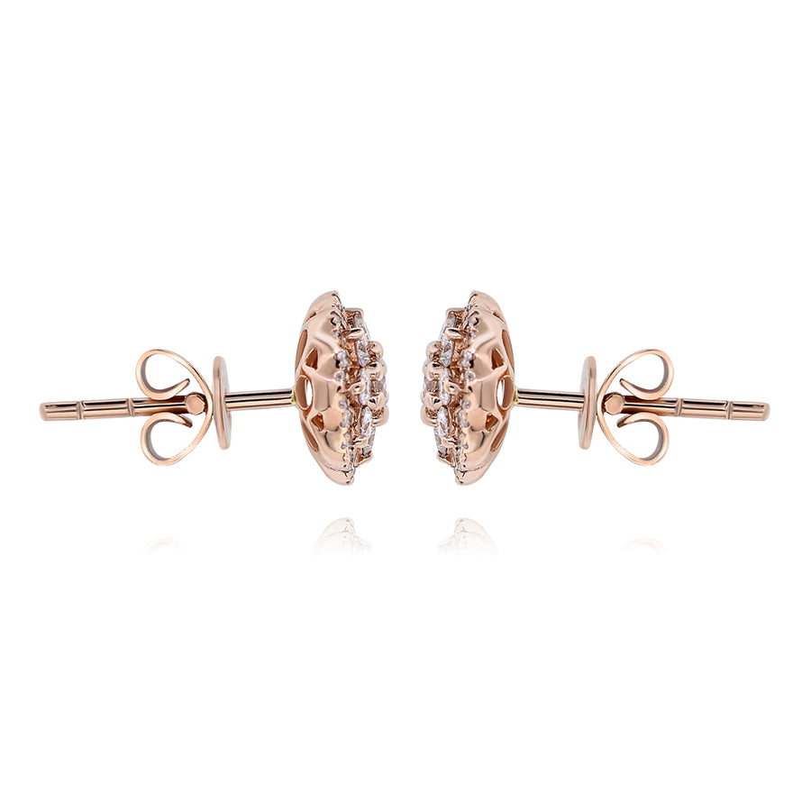 14k Rose Gold Diamond Cluster Earrings 0.52ctw