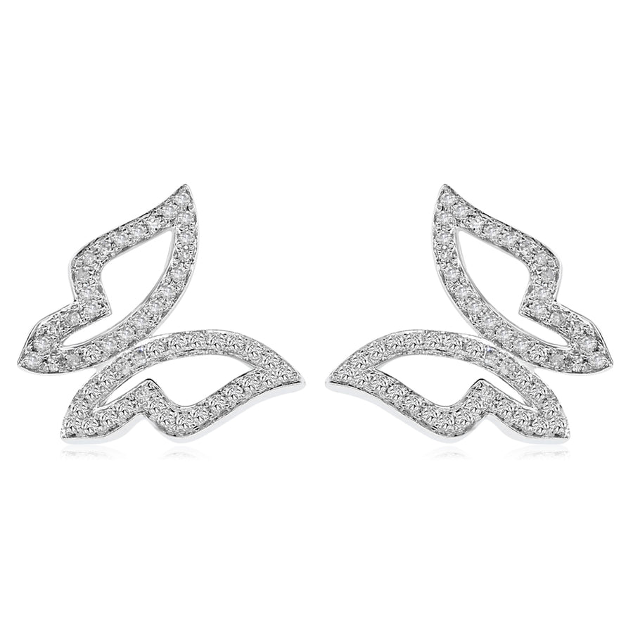 14k White Gold Diamond Butterfly Earrings 0.24ctw