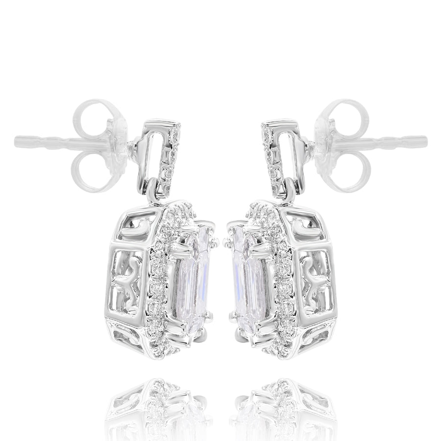 14k White Gold Baguette & Round Diamond Earrings 1.31ctw