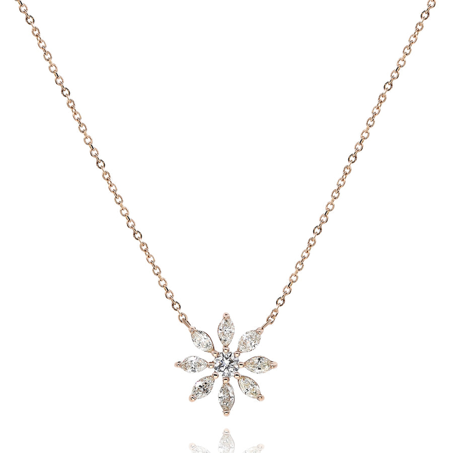 14k Rose Gold Diamond Snowflake Charm & Necklace 0.40ctw