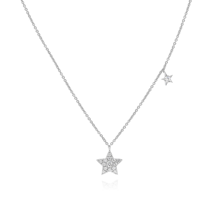 14k White Gold Diamond Star Necklace 0.16ctw