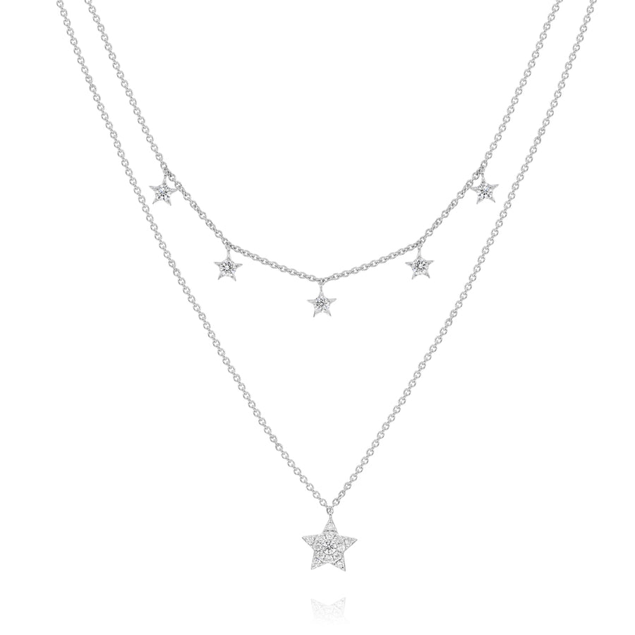 14k White Gold Diamond Stars Necklace 0.42ctw
