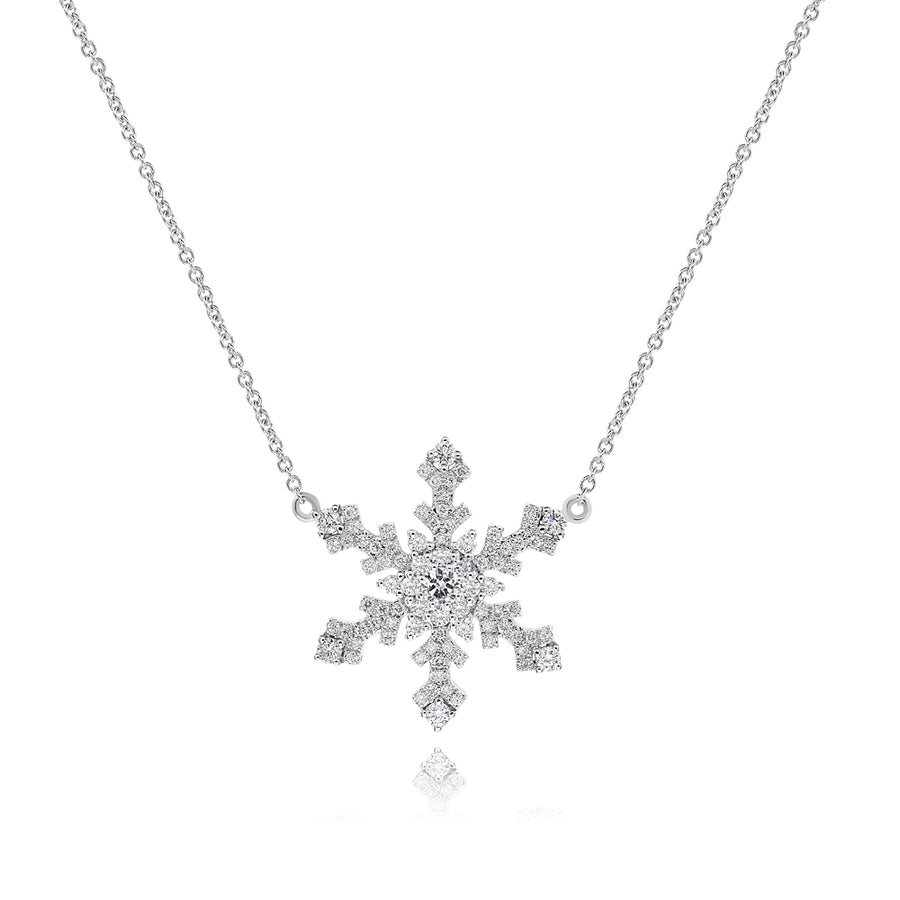 14k White Gold Diamond Snowflake Charm & Necklace 0.57ctw