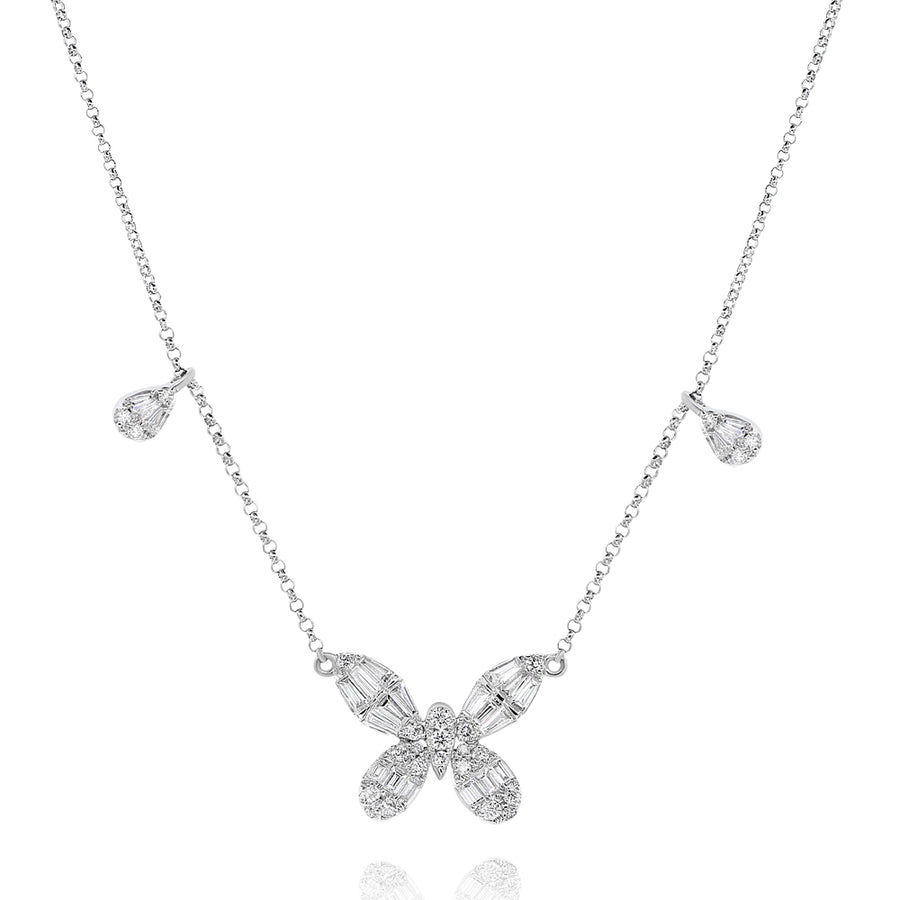 18k White Gold Baguette Diamond Butterfly Charm & Necklace 0.67ctw