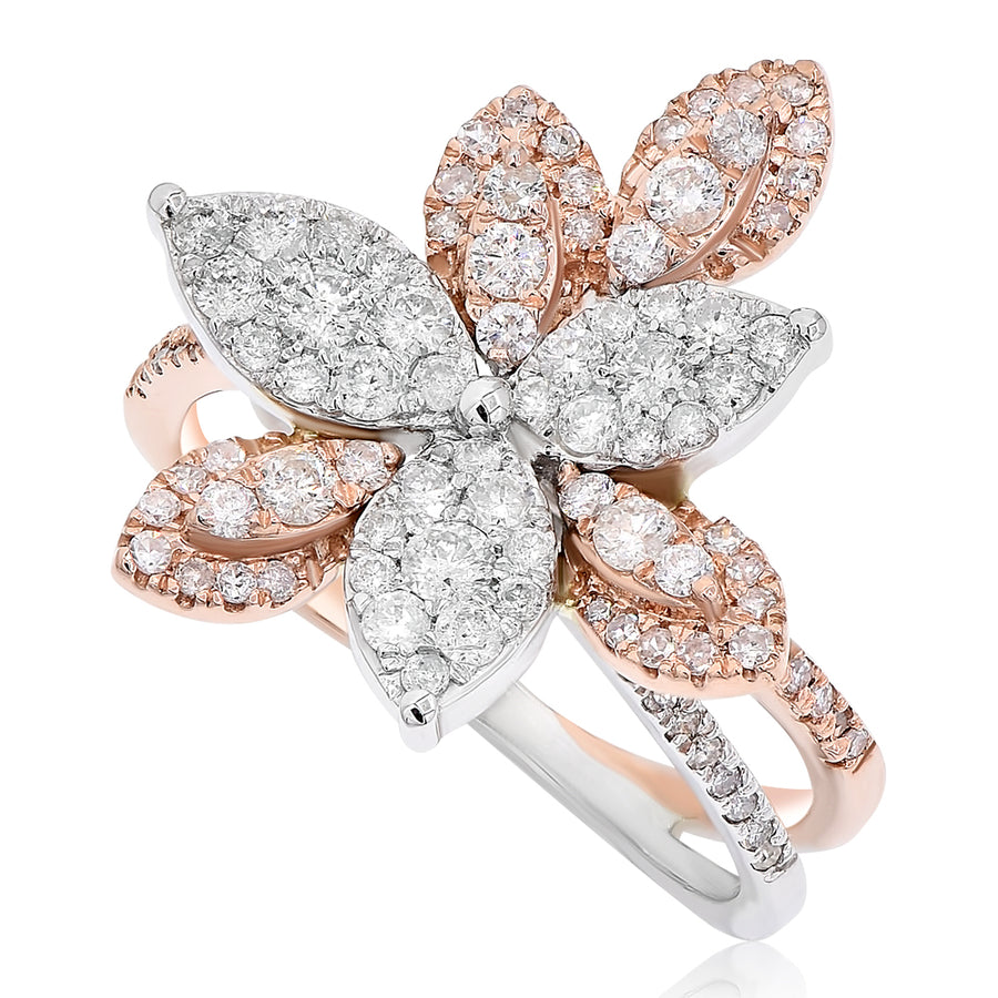 14k Two-Tone White & Rose Gold Diamond 3D Floral Ring 0.90ctw