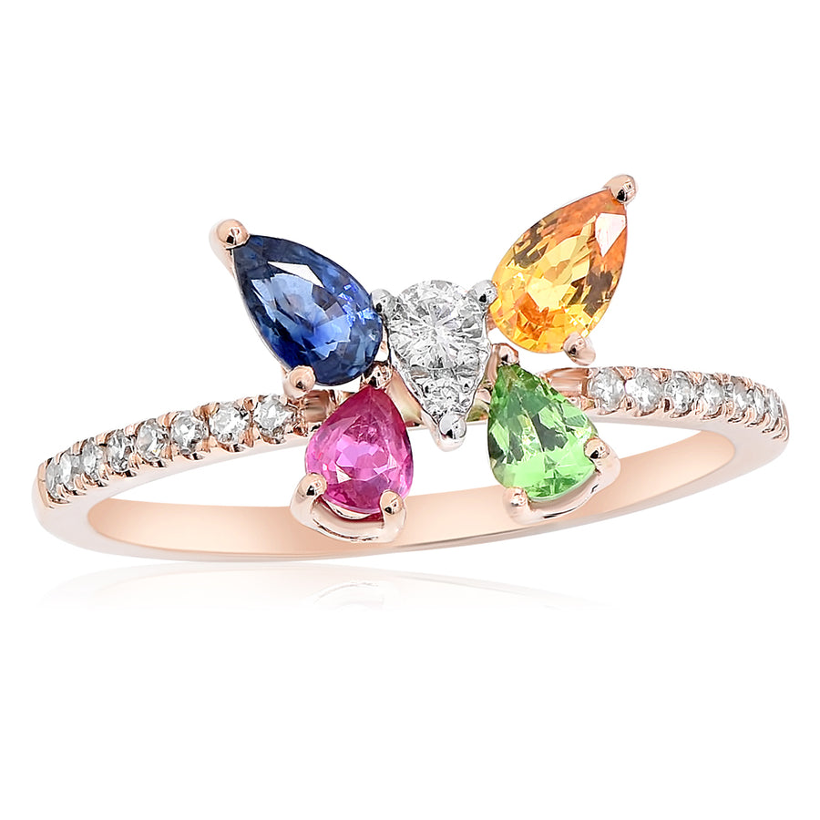 14k Rose Gold Diamond & Gemstone Butterfly Ring 0.12 ctw