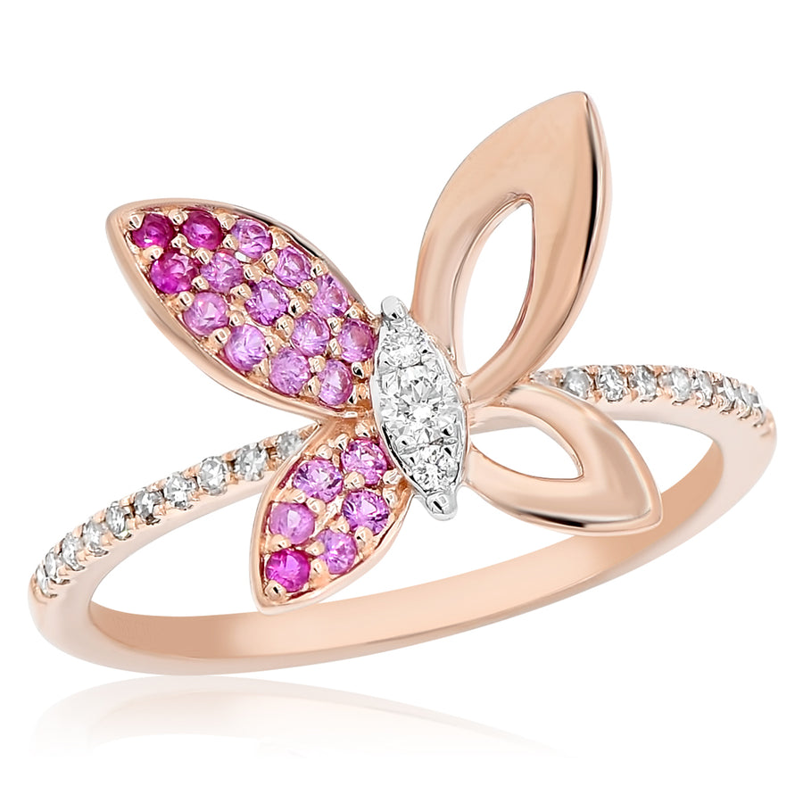 14k Rose Gold Diamond & Pink Sapphire Ring 0.10ctw