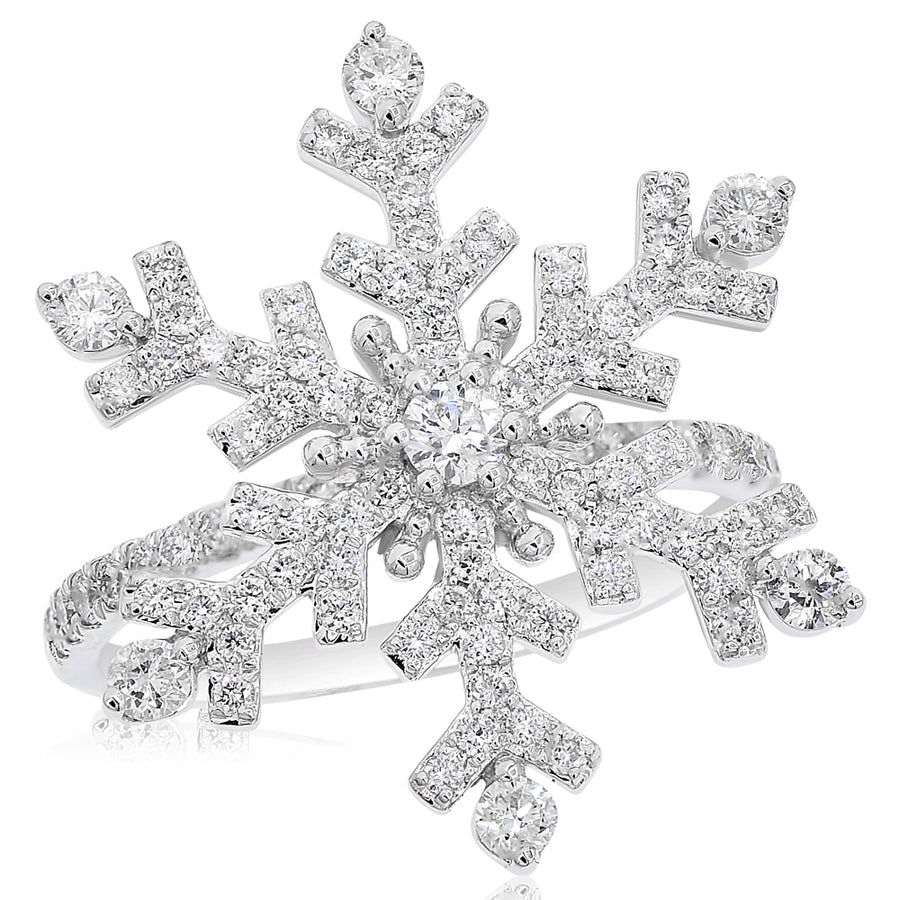 14k White Gold Diamond Snowflake Ring 0.91ctw