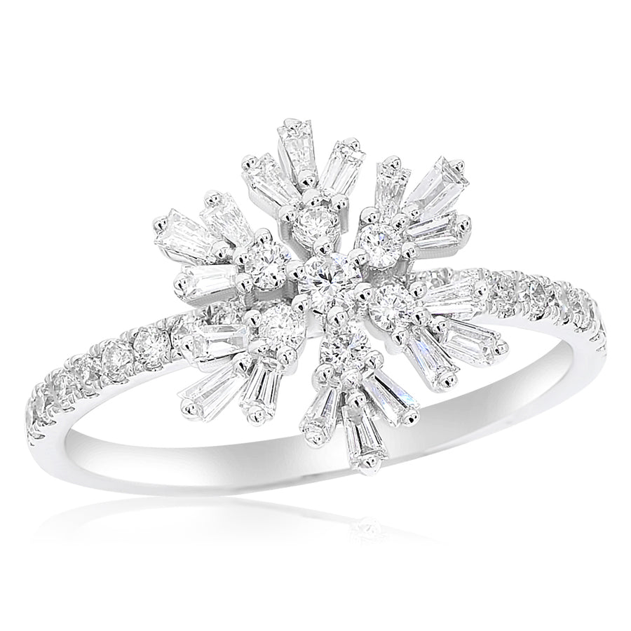 14k White Gold Baguette & Round Diamond Snowflake Ring 0.62ctw