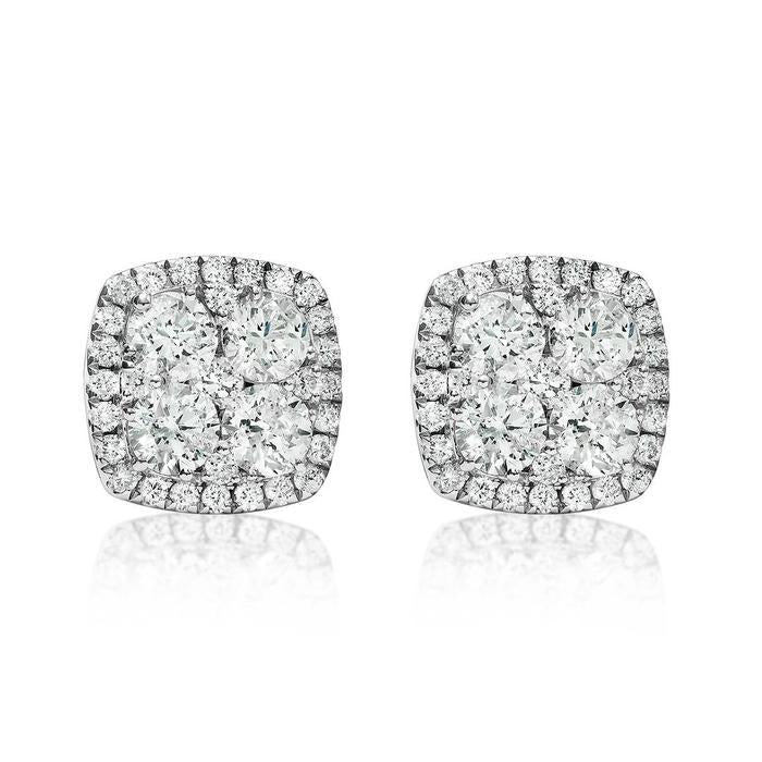 14k White Gold Diamond Cluster Earrings 2.00ctw