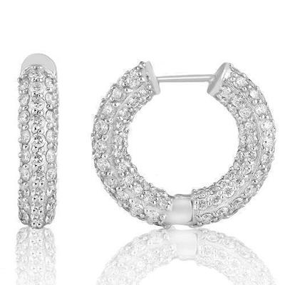 14k White Gold Hoop Earrings 5.95ctw