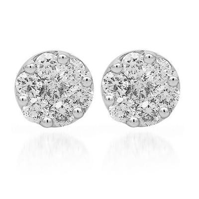 14k White Gold Cluster Earrings 2.00ctw