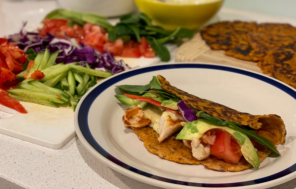 Sweet potato and cassava flour wraps with fresh salad ingredients