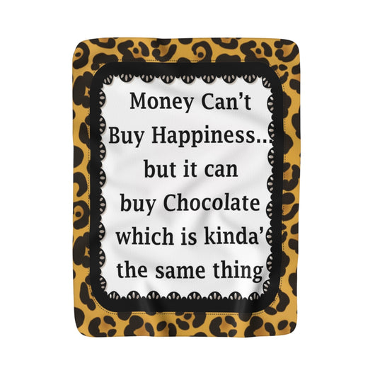 Money can't Buy Happiness Sherpa Fleece Blanket - Fun With Chemo