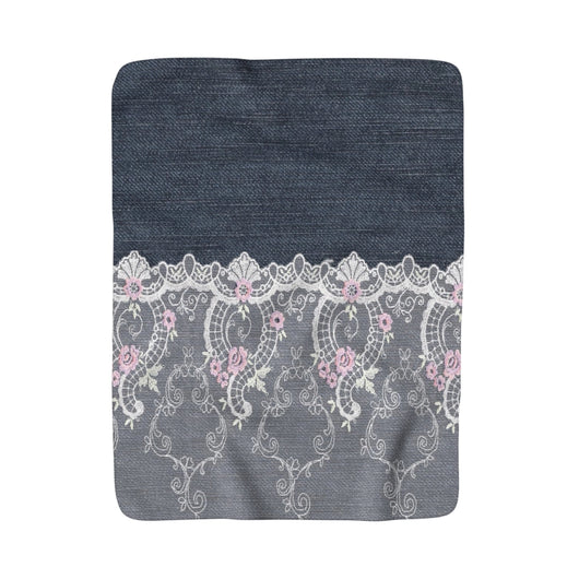 Pink and White Lace Over Denim Sherpa Fleece Blanket - Fun With Chemo