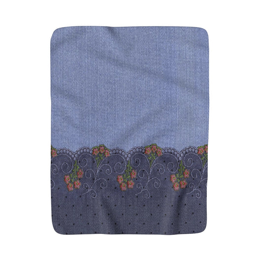 Denim with Lace Sherpa Fleece Blanket - Fun With Chemo